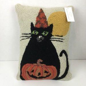 NWT Black Cat Pumpkin Halloween Throw Pillow